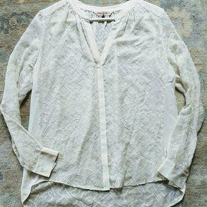 Rebbeca Taylor 4 Silk Cotton Blouse Sheer EUC